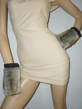 Designer Handschuhe aus Wolle und Kunstfell