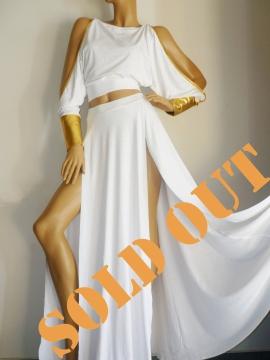Luxury 2-Teiler weiss-goldenes Abendkleid