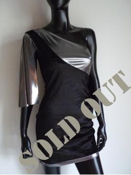 Abendkleid Schwarz-Metallic