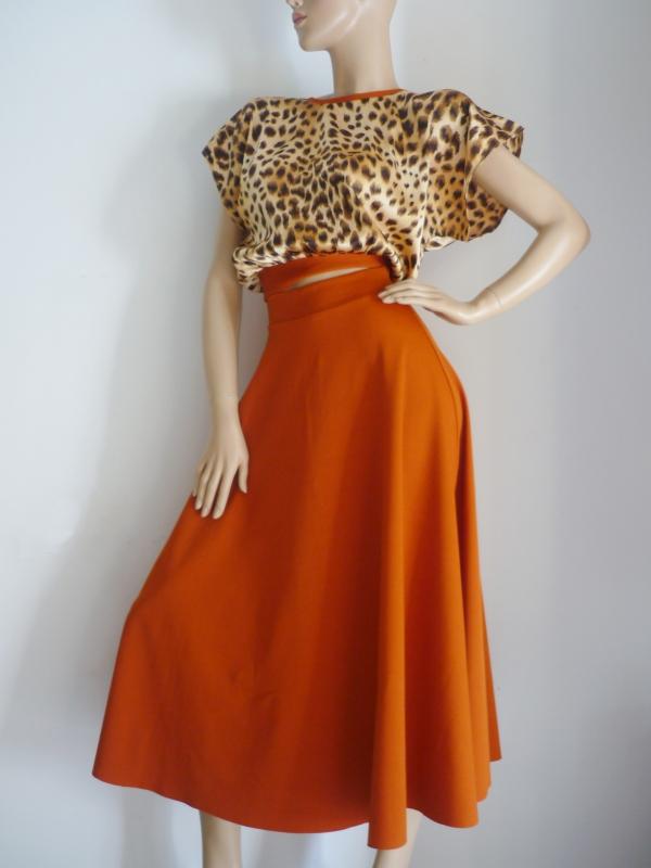Kleid Zweiteiler Rock + Bluse Tiermuster