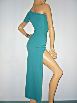 Abendkleid mit Ausschnitt in herrlichem Aquamarine