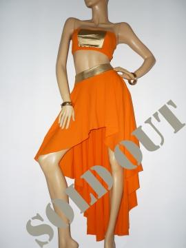 Fantastisches orange-goldenes Zweiteiler Kleid